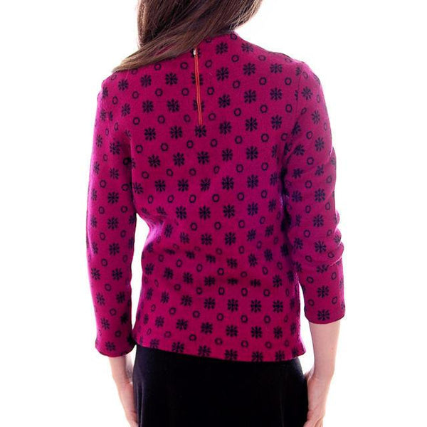 Vintage  Wool Sweater Violet/Black Snowflake Pattern Germany 1960s Small-M - The Best Vintage Clothing  - 2