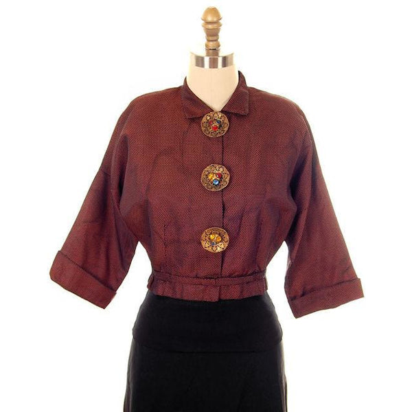 Vintage Changeable Silk Blouse Amazing Buttons 1930s Provenance Med Sonja Loew - The Best Vintage Clothing  - 1