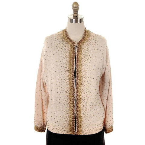 Vintage Cardigan Sweater 1950s Beige & Copper Beaded Womens XL