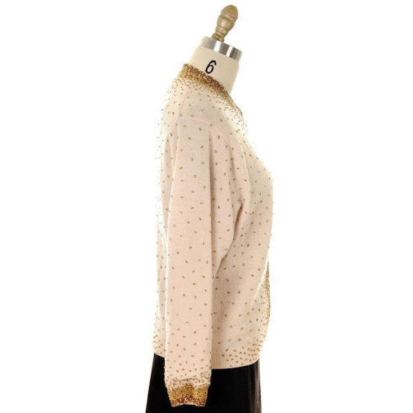Vintage Cardigan Sweater 1950s Beige & Copper Beaded Womens XL - The Best Vintage Clothing  - 2