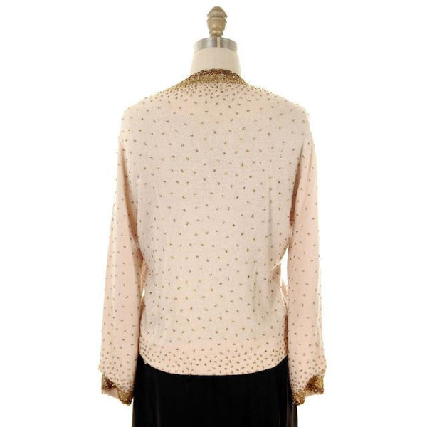 Vintage Cardigan Sweater 1950s Beige & Copper Beaded Womens XL - The Best Vintage Clothing  - 3