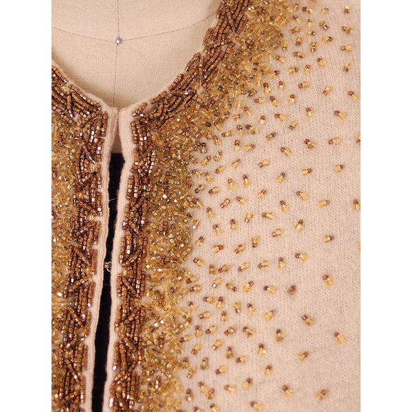 Vintage Cardigan Sweater 1950s Beige & Copper Beaded Womens XL - The Best Vintage Clothing  - 4