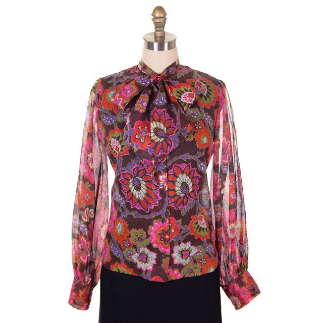 Vintage Blouse Gauzy Brown & Hot Pink Mod FLoral 1970s S-M - The Best Vintage Clothing  - 1