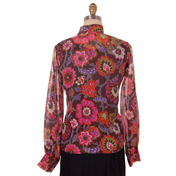 Vintage Blouse Gauzy Brown & Hot Pink Mod FLoral 1970s S-M - The Best Vintage Clothing  - 3
