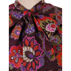 Vintage Blouse Gauzy Brown & Hot Pink Mod FLoral 1970s S-M - The Best Vintage Clothing  - 4