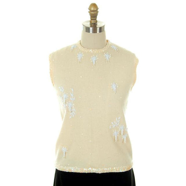Vintage Ladies Hand Beaded Ivory Sleeveless Shell Wool 1950s M-L - The Best Vintage Clothing  - 1