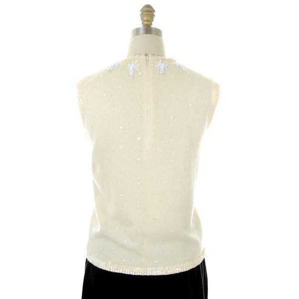Vintage Ladies Hand Beaded Ivory Sleeveless Shell Wool 1950s M-L - The Best Vintage Clothing  - 3