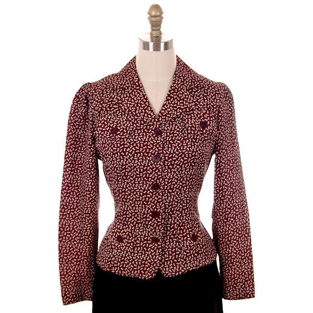 Vintage Ladies Rayon Blouse/Jacket Maroon Print  early 1940s Small - The Best Vintage Clothing  - 1