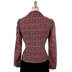 Vintage Ladies Rayon Blouse/Jacket Maroon Print  early 1940s Small - The Best Vintage Clothing  - 3