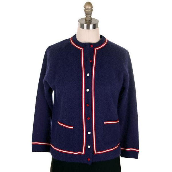 Vintage Navy Cardigan Sweater Blue  Red & White Trim 1960s M-L - The Best Vintage Clothing  - 1