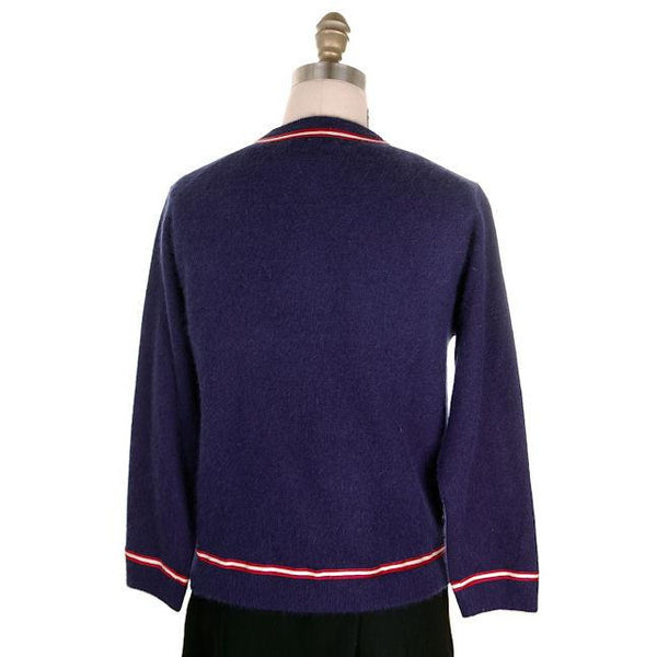 Vintage Navy Cardigan Sweater Blue  Red & White Trim 1960s M-L - The Best Vintage Clothing  - 3