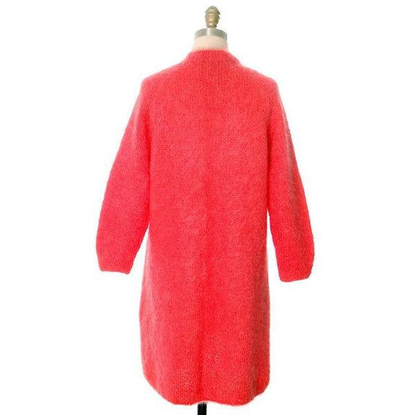 Vintage Ladies Mohair Sweater Coat Perfect Coral Easy To Wear Handknit 1960s 40 Bust - The Best Vintage Clothing  - 3