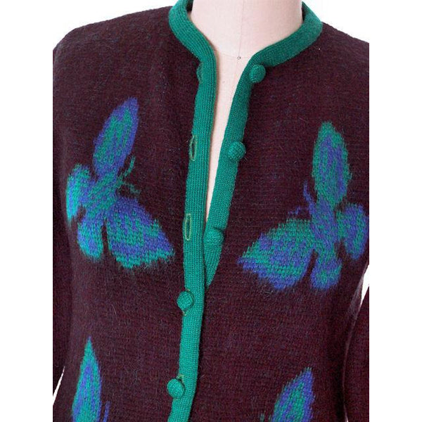 Vintage Ladies Cardigan Sweater Wool/Mohair Fab Blue Butterfly Motif 1960s Med - The Best Vintage Clothing  - 4