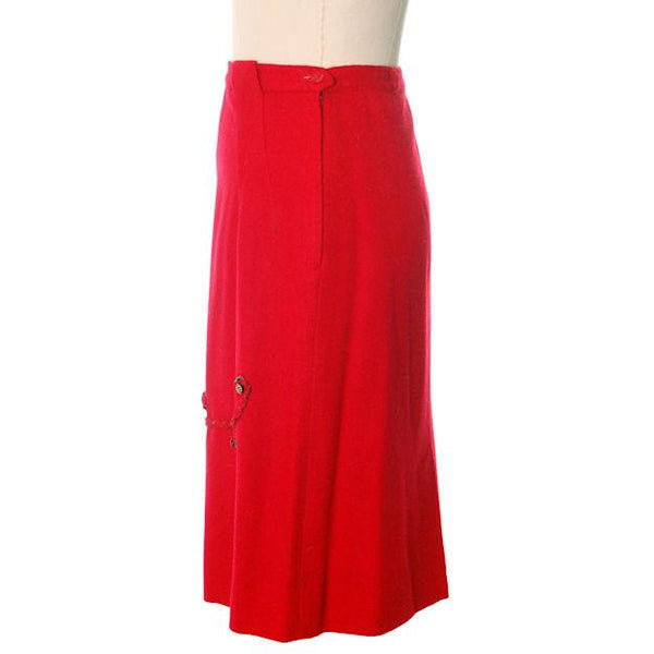 "Hot Lipstick Red Vintage Pencil Skirt  Wool w Passementerie Braid On Front 1950s Waist 29"" - The Best Vintage Clothing  - 2"