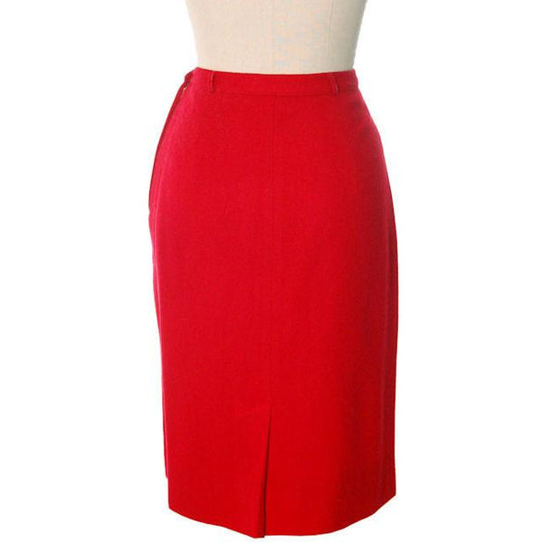 "Hot Lipstick Red Vintage Pencil Skirt  Wool w Passementerie Braid On Front 1950s Waist 29"" - The Best Vintage Clothing  - 3"