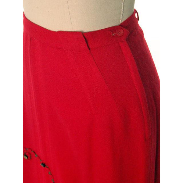 "Hot Lipstick Red Vintage Pencil Skirt  Wool w Passementerie Braid On Front 1950s Waist 29"" - The Best Vintage Clothing  - 5"