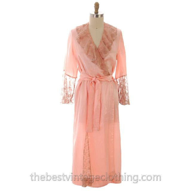 Vintage Peach Boudoir Robe Silk Satin Lace 1930s M-L 44 Bust - The Best Vintage Clothing  - 1