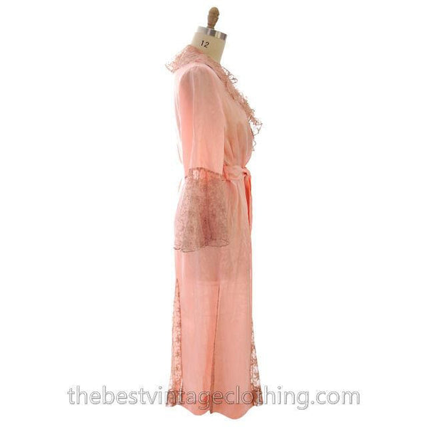 Vintage Peach Boudoir Robe Silk Satin Lace 1930s M-L 44 Bust - The Best Vintage Clothing  - 3
