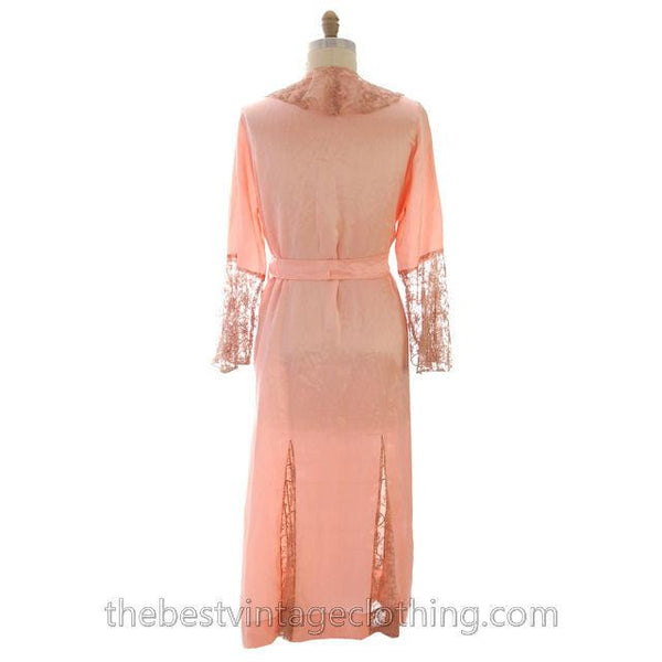 Vintage Peach Boudoir Robe Silk Satin Lace 1930s M-L 44 Bust - The Best Vintage Clothing  - 2