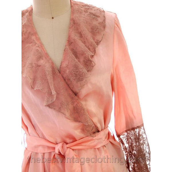 Vintage Peach Boudoir Robe Silk Satin Lace 1930s M-L 44 Bust - The Best Vintage Clothing  - 4