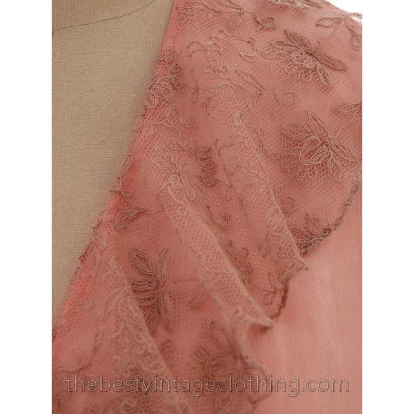Vintage Peach Boudoir Robe Silk Satin Lace 1930s M-L 44 Bust - The Best Vintage Clothing  - 5