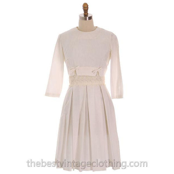 Vintage 1950s Ivory Raw Silk Summer  Day Dress with Short Jacket 34-27-Free - The Best Vintage Clothing  - 1