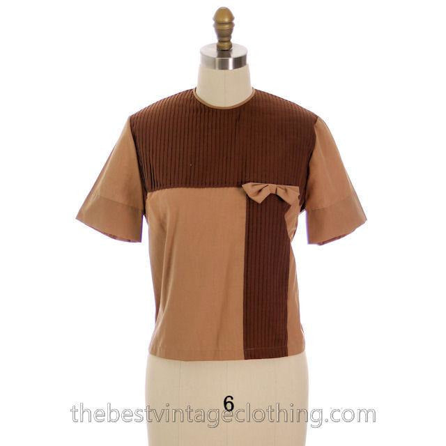 Vintage Blouse Two-Tone Blocks Brown Mocha 1950s 100% Cotton 38 Button Back - The Best Vintage Clothing  - 1