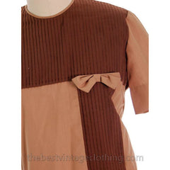 Vintage Blouse Two-Tone Blocks Brown Mocha 1950s 100% Cotton 38 Button Back - The Best Vintage Clothing  - 4