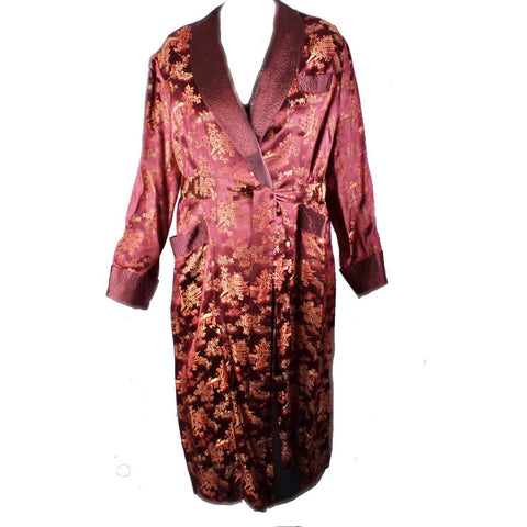 Vintage Mens Rayon Damask Robe Asian 1940s L XL Maroon Gold WW2