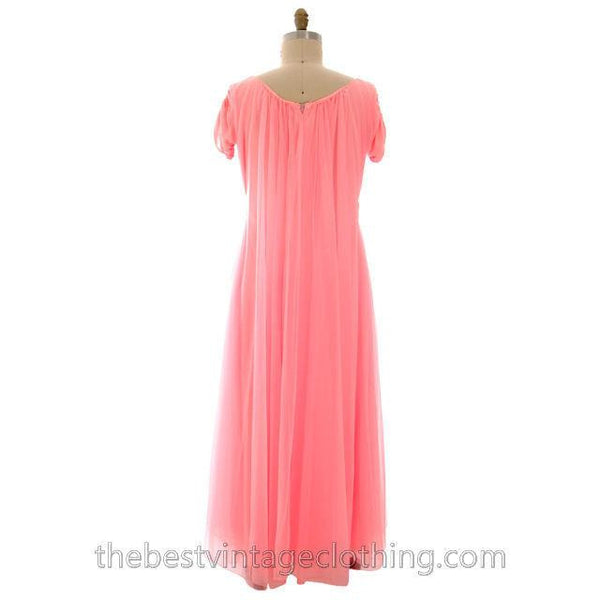 Vintage Lucie Ann Nylon Chiffon Nightgown/Lounger Coral Pink Short Sleeve M - The Best Vintage Clothing  - 4