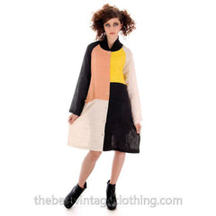 Marimekko Linen Color Block Tent Dress M  Season 2013 autumn-winter - The Best Vintage Clothing  - 4