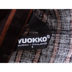 Vintage Vuokko Suomi Finland Dress Black Brown Stripe 1970s s - The Best Vintage Clothing  - 9