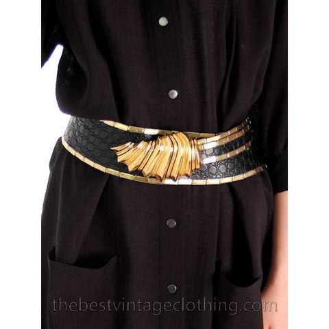 Vintage Black Leather Alligator Gold  Metal Belt Gold Bling Unique 25-36 1980s