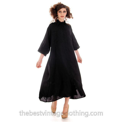 Vintage Rare Vuokko Nurmesniemi Finland Black Finest Wool Voile  Tent Dress 1970s M - The Best Vintage Clothing  - 1