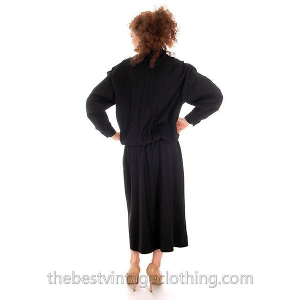 Vintage Vuokko Suomi Finland Black Wool Dropped Waist Dress 1970s - The Best Vintage Clothing  - 5