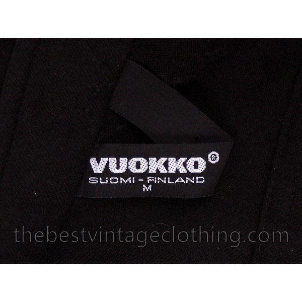 Vintage Vuokko Suomi Finland Black Wool Dropped Waist Dress 1970s - The Best Vintage Clothing  - 7