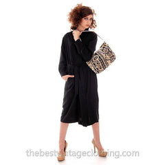 Classic Marimekko Silk Coat Dress Black M - The Best Vintage Clothing  - 1