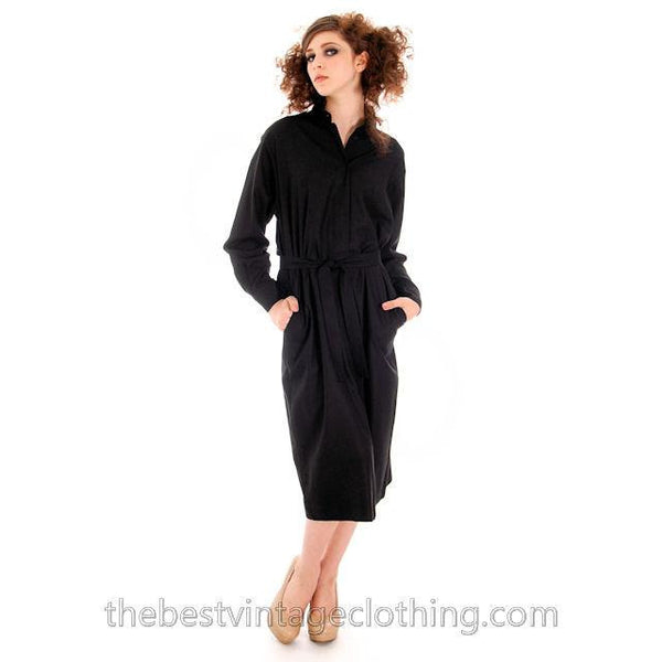 Classic Marimekko Silk Coat Dress Black M - The Best Vintage Clothing  - 4