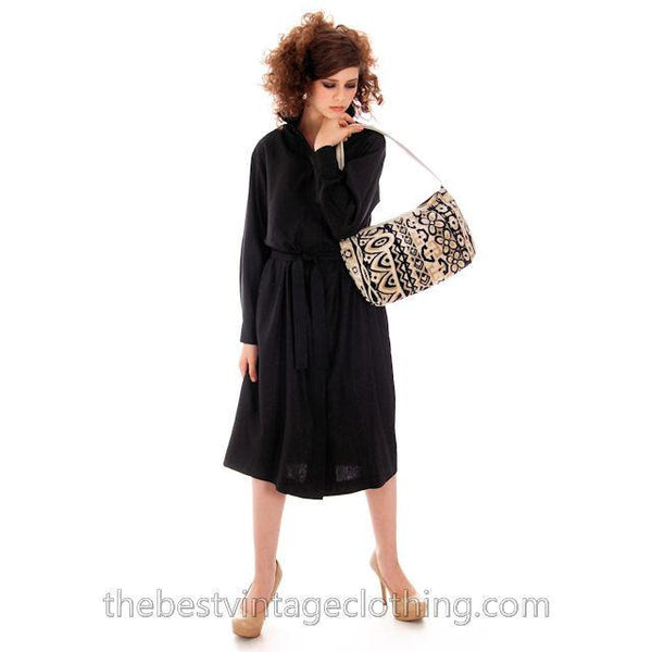 Classic Marimekko Silk Coat Dress Black M - The Best Vintage Clothing  - 2