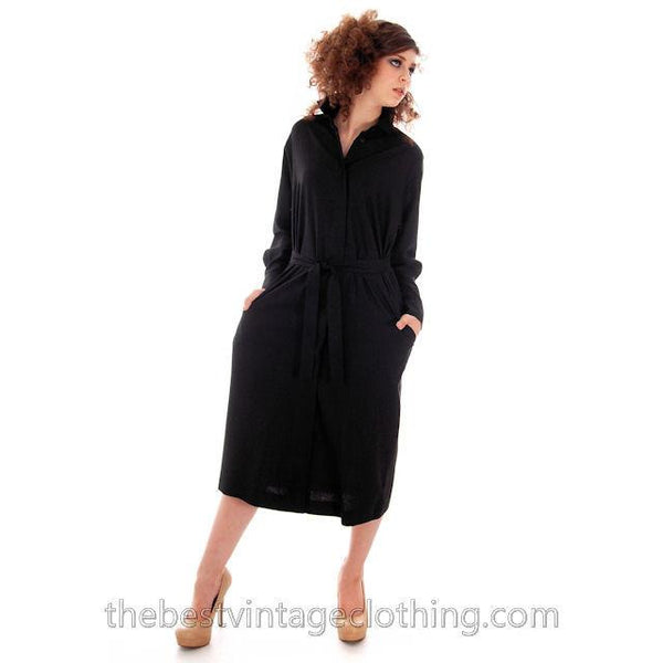Classic Marimekko Silk Coat Dress Black M - The Best Vintage Clothing  - 3