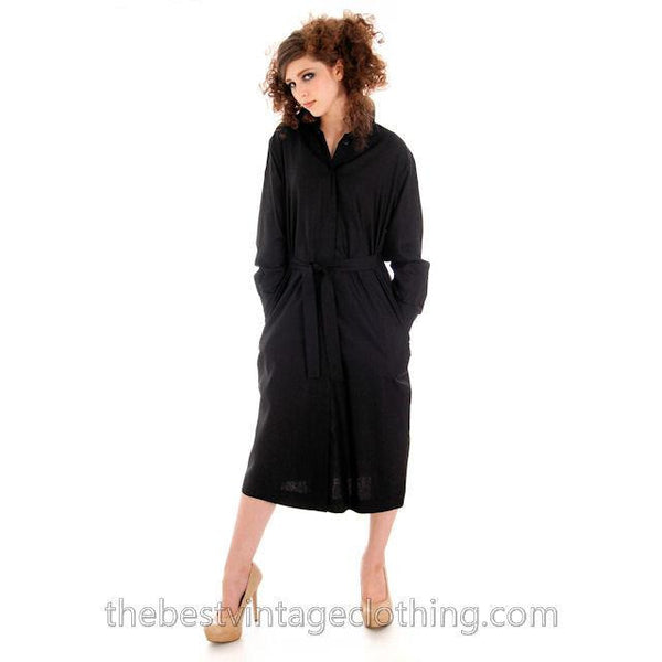 Classic Marimekko Silk Coat Dress Black M - The Best Vintage Clothing  - 5