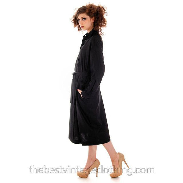 Classic Marimekko Silk Coat Dress Black M - The Best Vintage Clothing  - 6