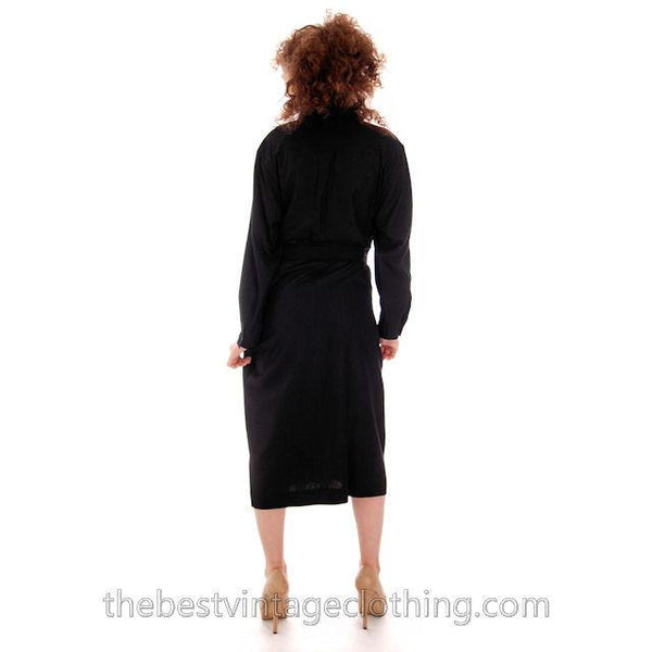 Classic Marimekko Silk Coat Dress Black M - The Best Vintage Clothing  - 7