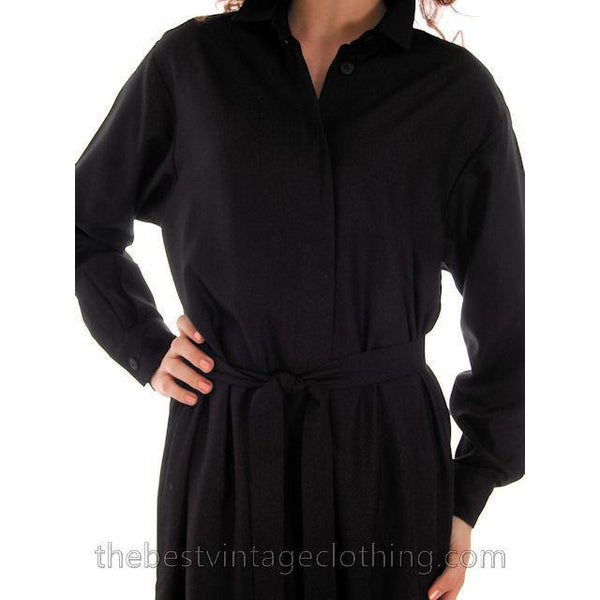 Classic Marimekko Silk Coat Dress Black M - The Best Vintage Clothing  - 9