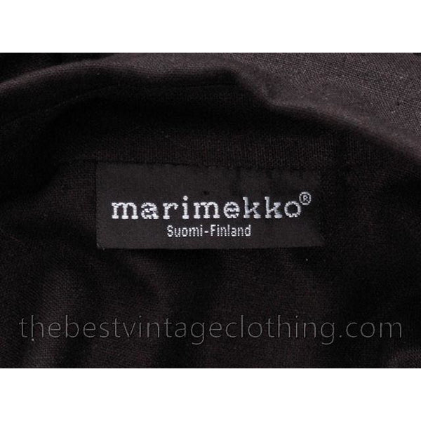 Classic Marimekko Silk Coat Dress Black M - The Best Vintage Clothing  - 8