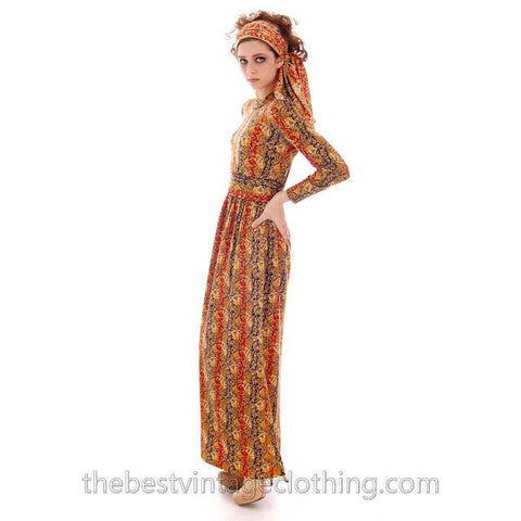Vintage Goldworm Printed Wool Maxi Dress w/ Matching Scarf 1970s  Small