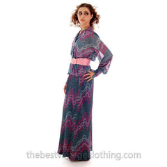 Vintage Missoni / John Baldwin Maxi Skirt & Blouse  Set Purple Pink Silver  Metallics 1970s Med - The Best Vintage Clothing  - 5