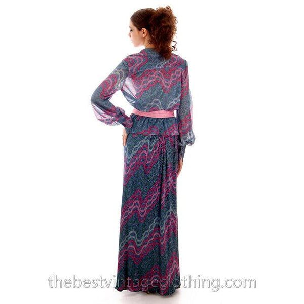 Vintage Missoni / John Baldwin Maxi Skirt & Blouse  Set Purple Pink Silver  Metallics 1970s Med - The Best Vintage Clothing  - 3