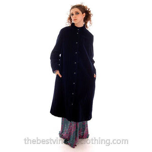 Vintage Vuokko Suomi Blueberry Cotton Velvet Channel Quilted Coat 1970s Sz 40 - The Best Vintage Clothing  - 1