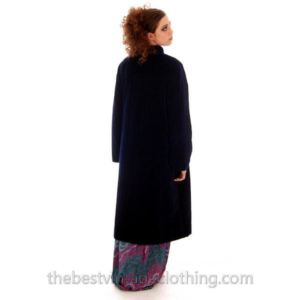 Vintage Vuokko Suomi Blueberry Cotton Velvet Channel Quilted Coat 1970s Sz 40 - The Best Vintage Clothing  - 2